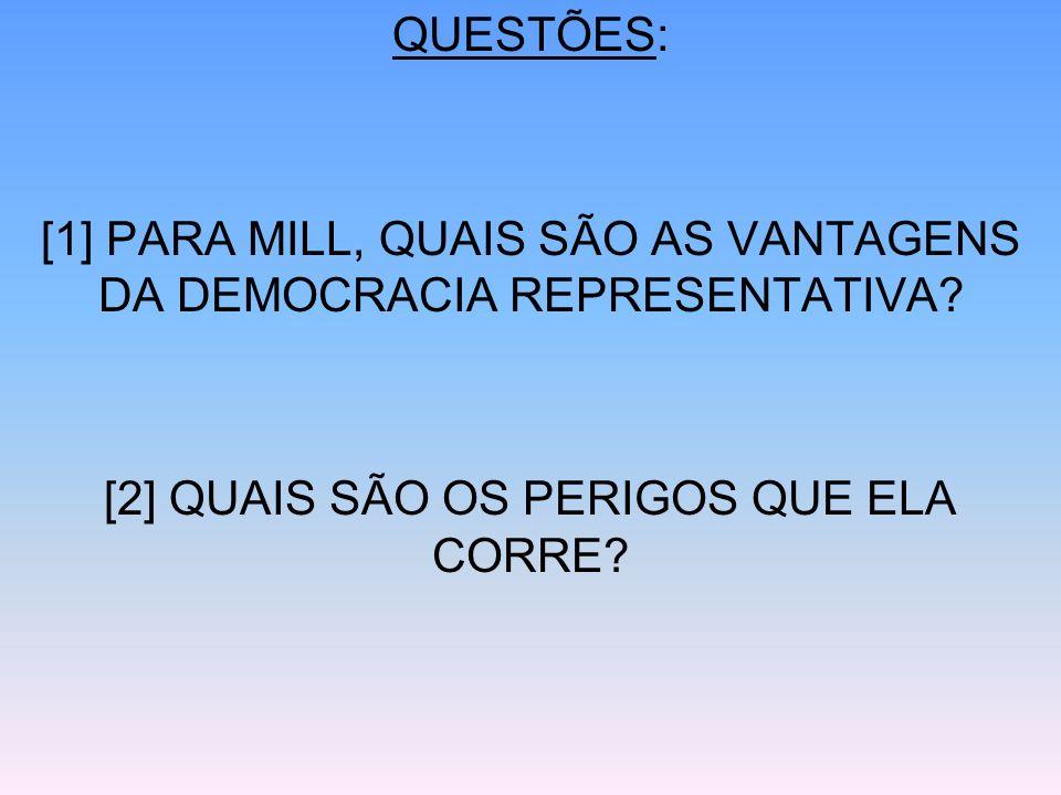 [1] PARA MILL, QUAIS SÃO AS VANTAGENS DA DEMOCRACIA REPRESENTATIVA